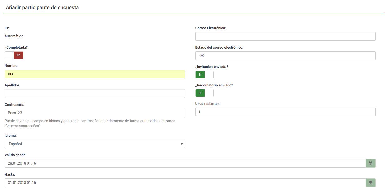 Añadir participantes en la encuesta